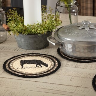 VHC Sawyer Mill Farmhouse Classic Country Tabletop & Kitchen Cow Stenciled Jute Trivet