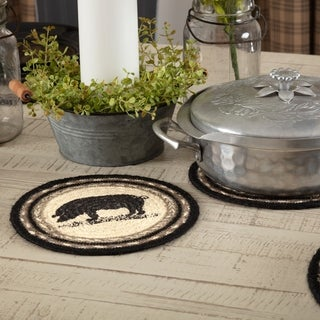VHC Sawyer Mill Farmhouse Classic Country Tabletop & Kitchen Pig Stenciled Jute Trivet
