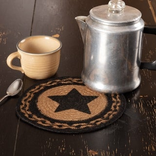 VHC Farmhouse Country Black Primitive Classic Tabletop & Kitchen Star Stenciled Jute Trivet