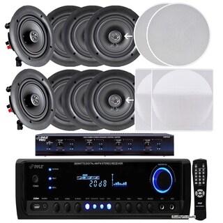 "Pyle KTHSP390SV 4 Pairs of 150W 5.25"" Speakers- 300W Receiver,Selector"