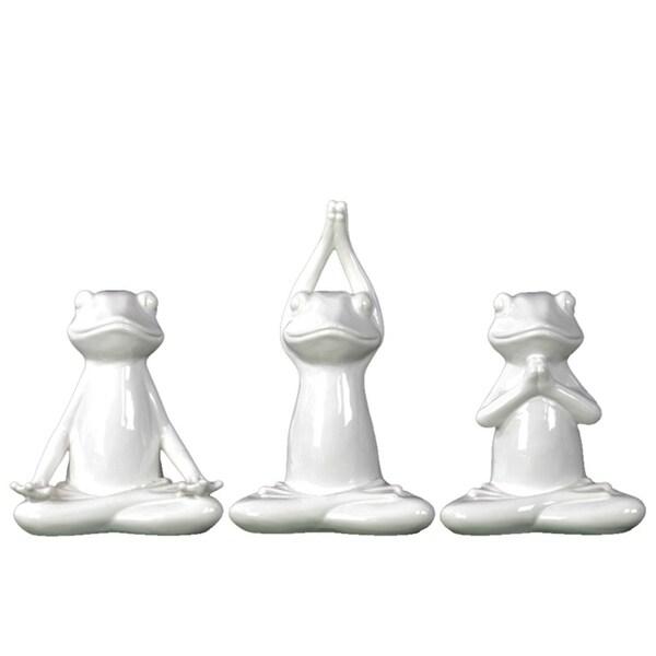 Shop Urban Trends Ceramic Frogs Figurine In Assorted Yoga