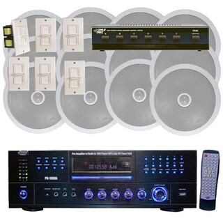 Pyle 1000W 6 Channel In-Ceiling Speaker System, Inbuilt DVD/MP3/USB