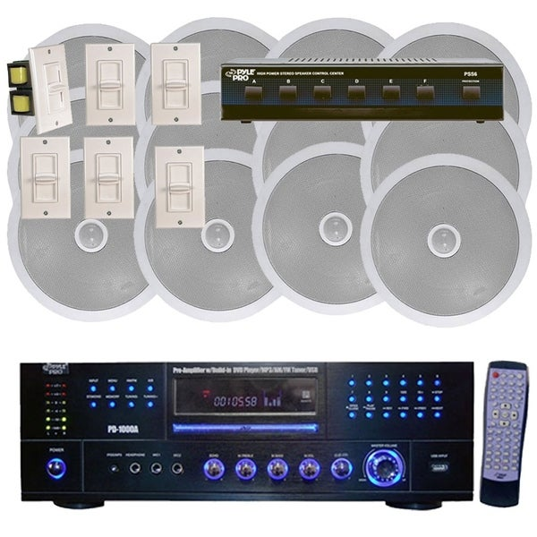 Shop Pyle 1000W 6 Channel In-Ceiling Speaker System