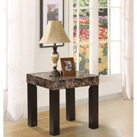 21.5 Inch Brown/ Ivory Faux Marble Granite Side End Table