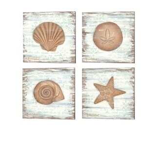 Annie Lapoint 'Ocean Scallop, Sand Dollar, Snail & Starfish' Canvas Art (Set of 4)
