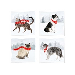 Victoria Borges 'Christmas Cats & Dogs' Canvas Art (Set of 4)