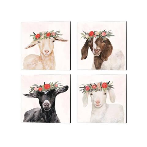 Victoria Borges 'Garden Goat' Canvas Art (Set of 4)