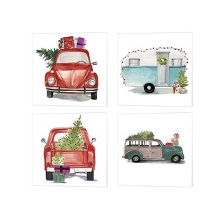 Jennifer Parker 'Christmas Cars I' Canvas Art (Set of 4)