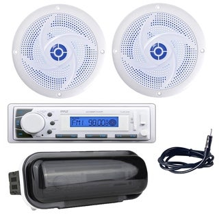"""Pyle PLMR20W Marine Stereo Radio Headunit Receiver, 6.5"""" 240W Speakers with Built-in LED Lights, Antenna, Radio Shield"""