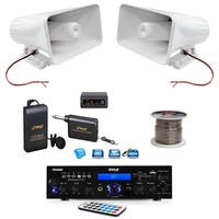 Pyle PDA6BU Bluetooth Stereo Amplifier, Amp Receiver, 6 Inch PA Horn Speakers, Wireless Microphone System and 100 ft. Wire
