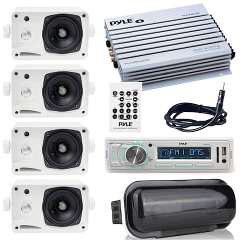 "Pyle stereo radio headunit receiver with 4 ch. amp, 400W, waterproof amplifier, 3.5"" mini speakers, radio shield, antenna wire"