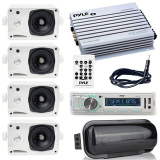 """Pyle stereo radio headunit receiver with 4 ch. amp, 400W, waterproof amplifier, 3.5"""" mini speakers, radio shield, antenna wire"""