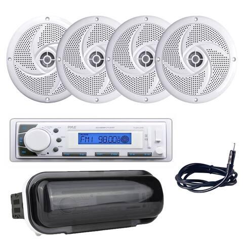 "Pyle PLMR20W Marine Stereo Radio Headunit Receiver, 5.25"" 180W Marine Speakers, Antenna, Radio Shield"