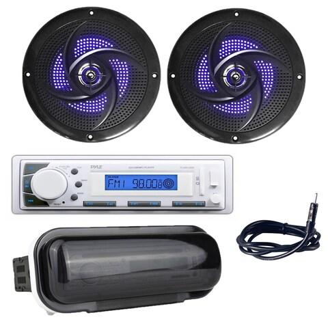 "Pyle PLMR20W Marine Radio Headunit Receiver, 4"" 100 Watt Waterproof Speakers with Built-in LED Lights, Antenna, Radio Shield"