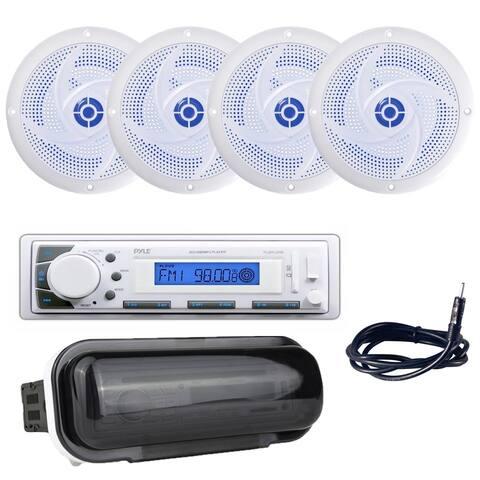 "Pyle PLMR20W Marine Stereo Radio Headunit Receiver, (4) 4"" 100W Marine Speakers with Built-in LED Lights, Antenna, Radio Shield"