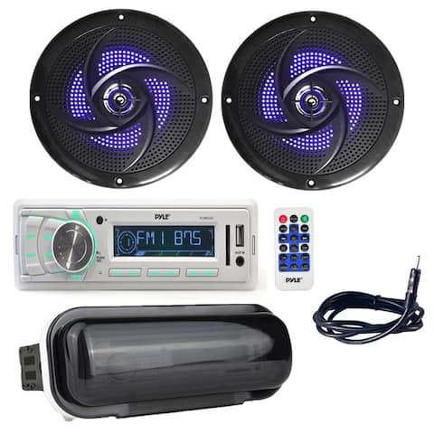 "Pyle PLMR88W Marine Stereo Radio Headunit Receiver with (2) 4"" 100W Waterproof Rated Marine Speakers, Antenna, Radio Shield"