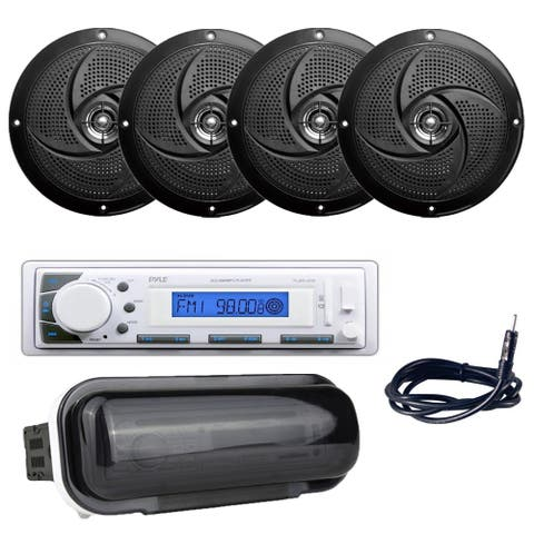 "Pyle PLMR20W Marine Stereo Radio Headunit Receiver, (4) 5.25"" 180W Marine Speakers, Antenna, Radio Shield"