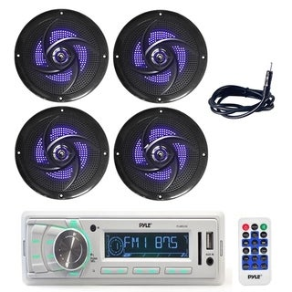 Pyle PLMR88W in-dash stereo radio headunit Marine receiver with (4) 5.25 Inch 180W Waterproof Rated Marine Speakers