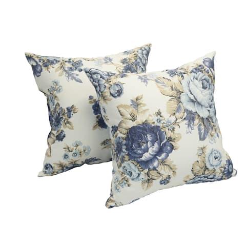 Blazing Needles Blue Rose Garden 17-inch Accent Throw Pillow (Set of 2)