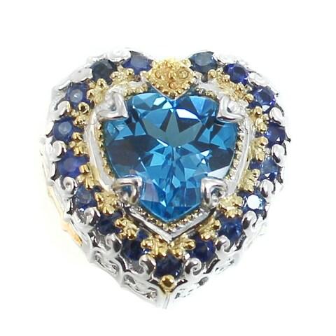 Michael Valitutti Palladium Silver Swiss Blue Topaz & Blue Sapphire Charm