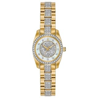 Bulova Womens Crystal Accent Watch - Goldtone