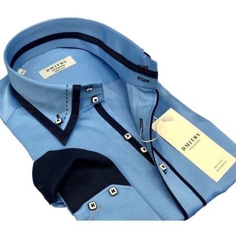 DMITRY Italian Cotton Men's Blue Long Sleeve Dress Shirt