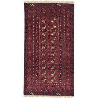 Hand Knotted Afghan Akhche Wool Runner Rug - 3' 4 x 6' 2