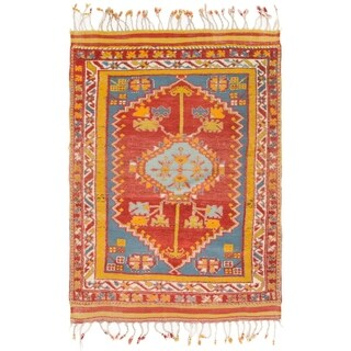 Hand Knotted Anatolian Semi Antique Wool Area Rug - 4' 3 x 6' 2