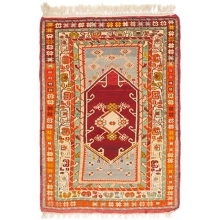 Hand Knotted Anatolian Semi Antique Wool Area Rug - 3' 8 x 5' 4