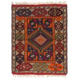 Hand Knotted Anatolian Wool Area Rug - 4' 3 x 5' 9