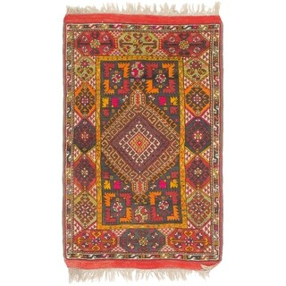 Hand Knotted Anatolian Semi Antique Wool Area Rug - 3' 5 x 5' 8