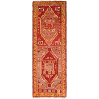 Hand Knotted Anatolian Semi Antique Wool Runner Rug - 3' 7 x 10' 10
