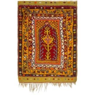 Hand Knotted Anatolian Wool Area Rug - 3' 1 x 4' 6