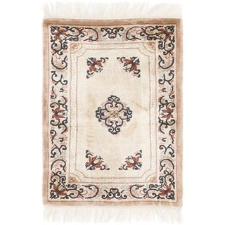 Hand Knotted Antique Finish Silk Area Rug - 2' x 3'