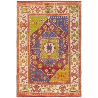 Hand Knotted Anatolian Semi Antique Wool Area Rug - 5' 2 x 7' 6