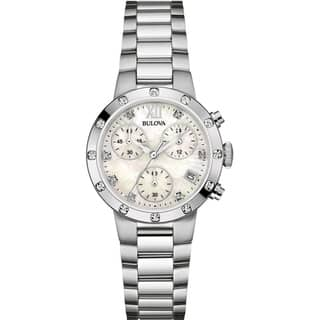 Bulova Women's 96R202 Chronograph Diamond Accent Bracelet Watch - silver