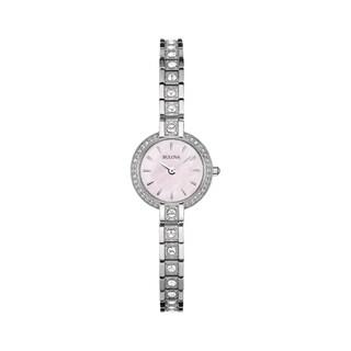 Bulova Women's Crystal Watch And Bracelet Box Set - silver