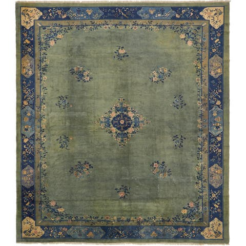 Hand Knotted Antique Finish Antique Wool Square Rug - 12' 4 x 14' 2