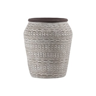 Cement Round Bellied Vase with Brown Lip, Tribal Pattern Design Body and Tapered Bottom LG Painted Finish Taupe