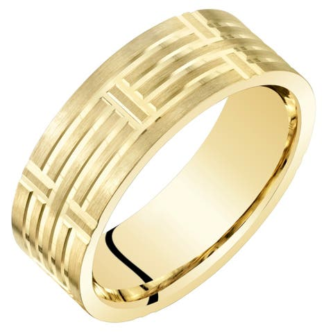Mens 14 Karat Yellow Gold Wedding Ring Band 7mm Geometric Style Comfort Fit Sizes 8 to 14