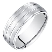 Mens 14 Karat White Gold Wedding Ring Band 7mm Satin Finish Sizes 8 to 14