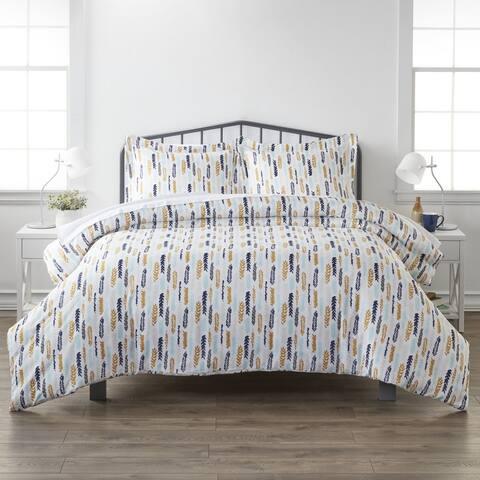 Merit Linens Premium Ultra Soft Feathers Pattern 3 Piece Duvet Cover Set