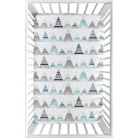 Sweet Jojo Designs Navy Blue, Aqua and Grey Aztec Mountains Collection Fitted Mini Portable Crib Sheet