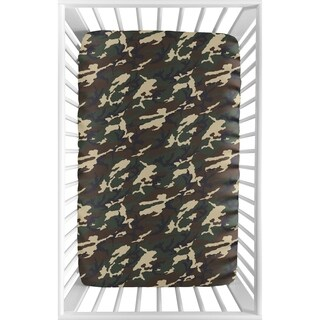 Sweet Jojo Designs Green and Beige Camouflage Woodland Camo Collection Fitted Mini Portable Crib Sheet