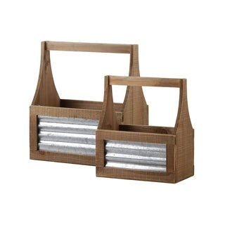 UTC53318: Wood Rectangle Caddy with Handle and Corrugated Metal Sides Set of Two Natural Finish Brown