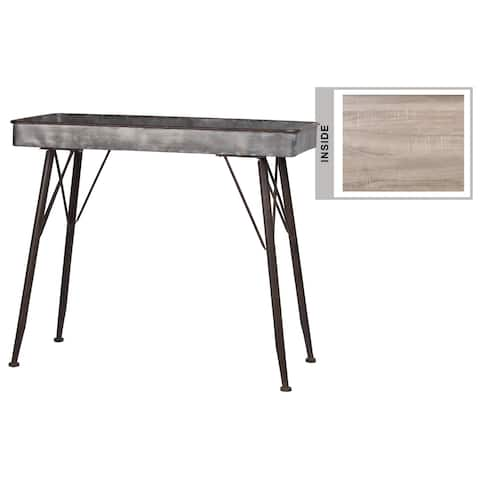 Urban Trends Metal Rectangle Table with Wood Surface and Brown Espresso Rim Edges and Legs in Galvanized Finish - Dark Gray