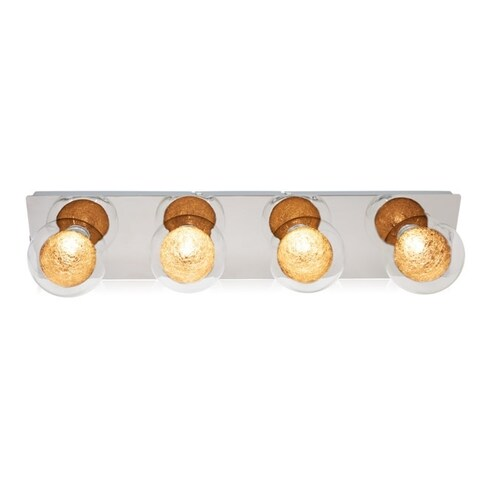 Maxxima LED Chrome Bathroom Vanity Light with Crystallized Globe Diffusers, 4-Light LED Fixture