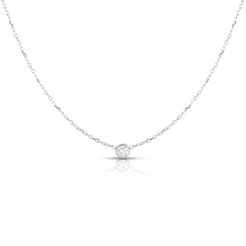 Noray Designs 14K Gold Diamond (0.10-0.33 Ct, G-H Color, SI2-I1 Clarity) Bezel Solitaire Necklace
