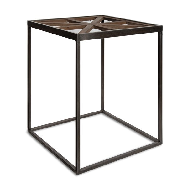 Kate and Laurel Mace Distressed Brown and Black Wood and Metal Glass-top Side Accent Table