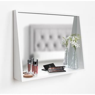 Kate and Laurel Jarden Recessed Wall Mirror with Shelf - White - 20X26
